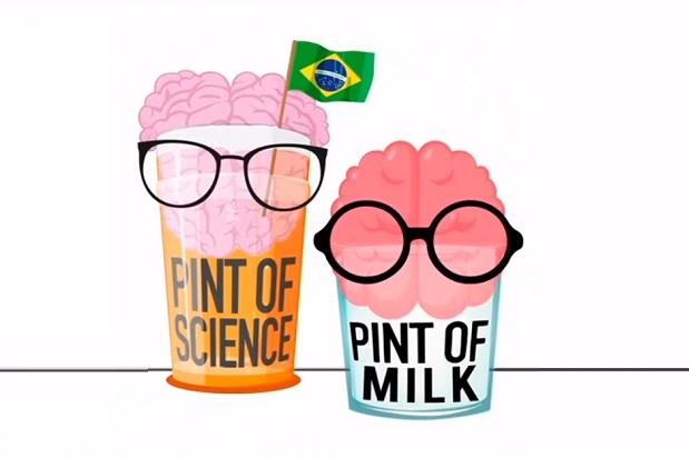 Arte gráfica de divulgação do Pint of Science e do Pint of Milk